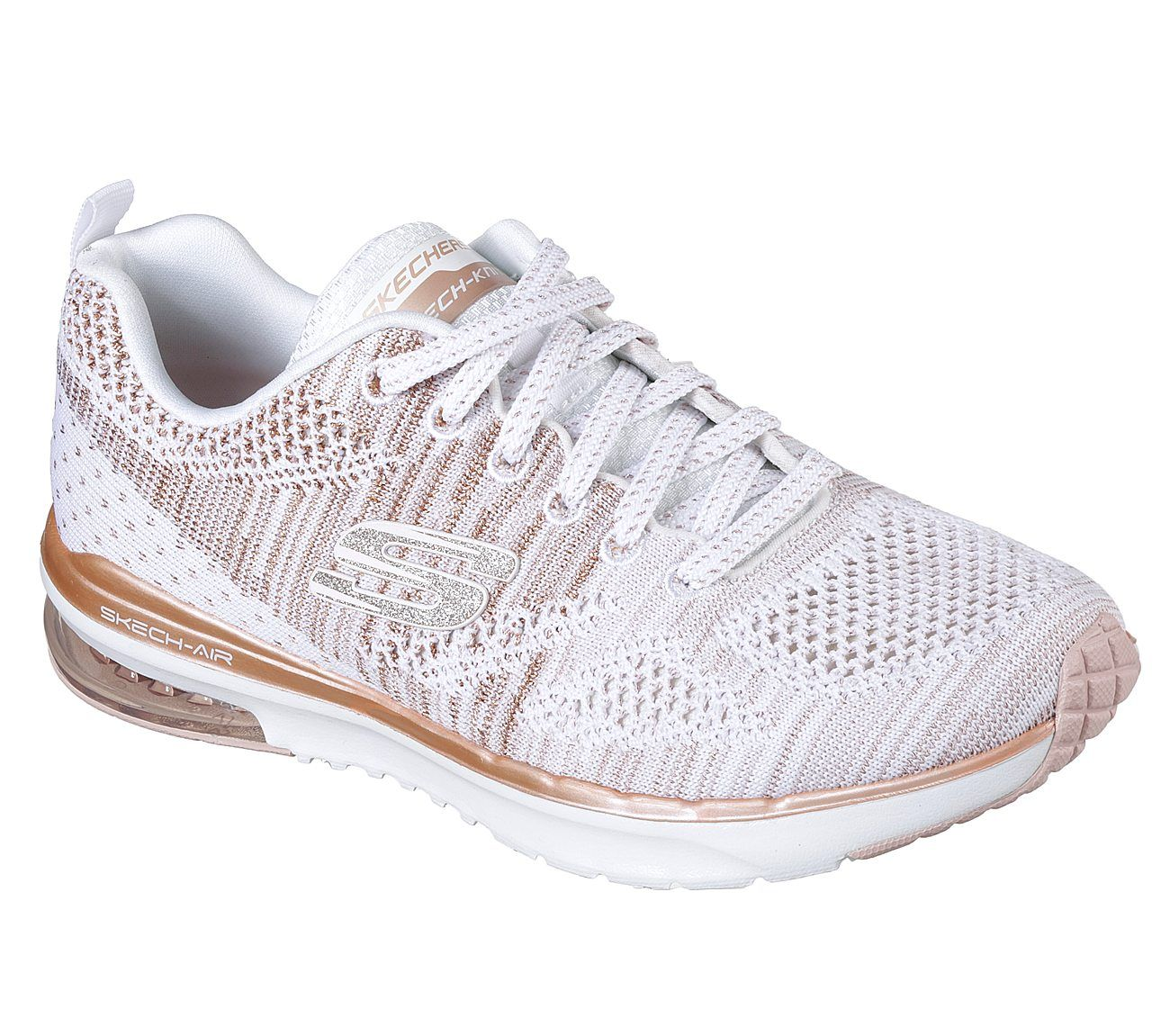 skechers white and rose gold