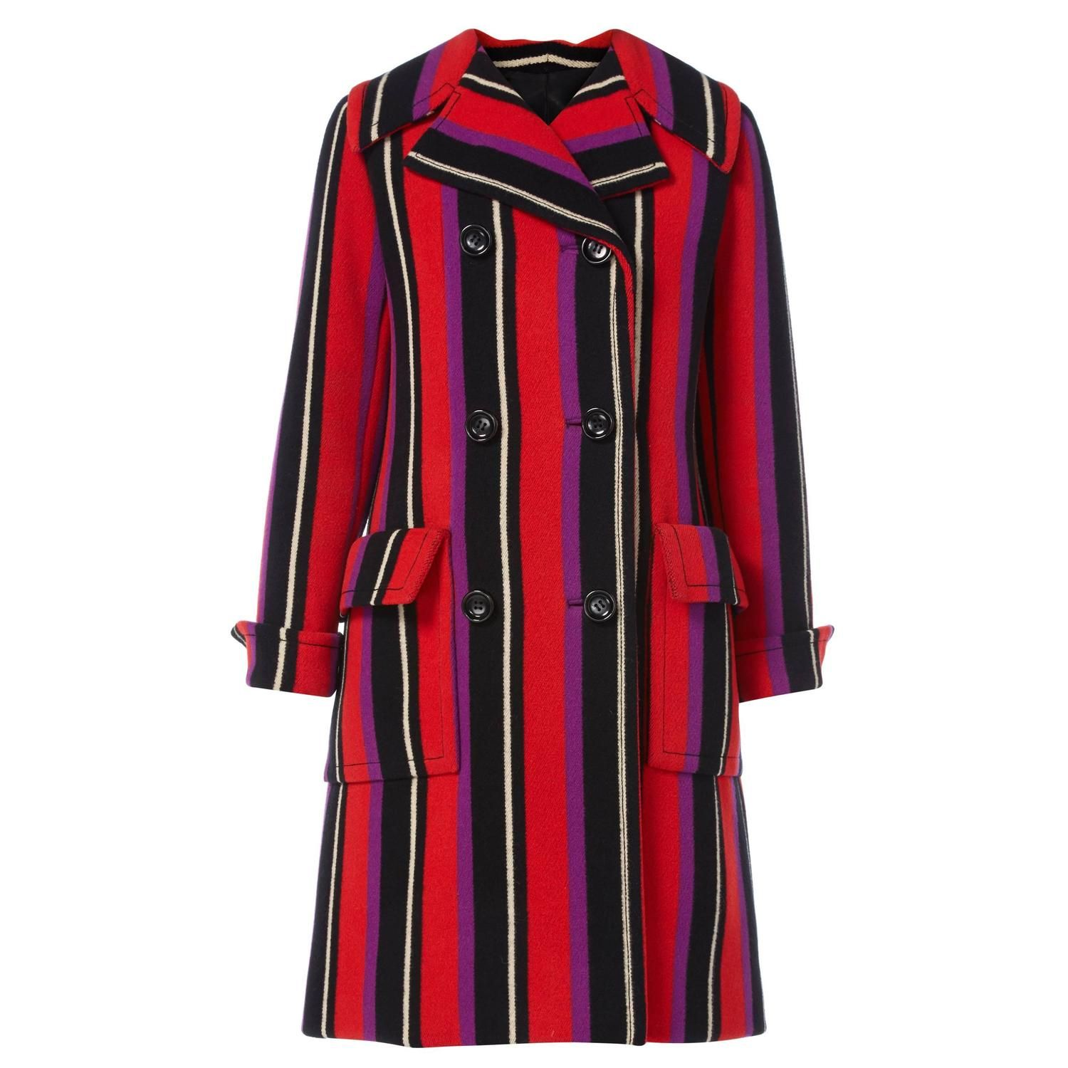 Haute Couture Dior stripe coat, Autumn/Winter 1967 | From a collection of rare vintage coats and outerwear at https://www.1stdibs.com/fashion/clothing/coats-outerwear/