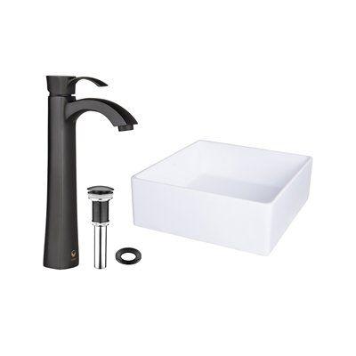 Pazo Bavaro Composite Vessel Sink & Otis Bathroom Vessel Faucet in Matte Black