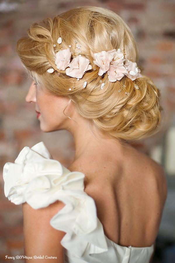 Romantic headpiece-cherry blossom bridal hair vine in blush pink.Luxurious Handmade Bridal Accessories