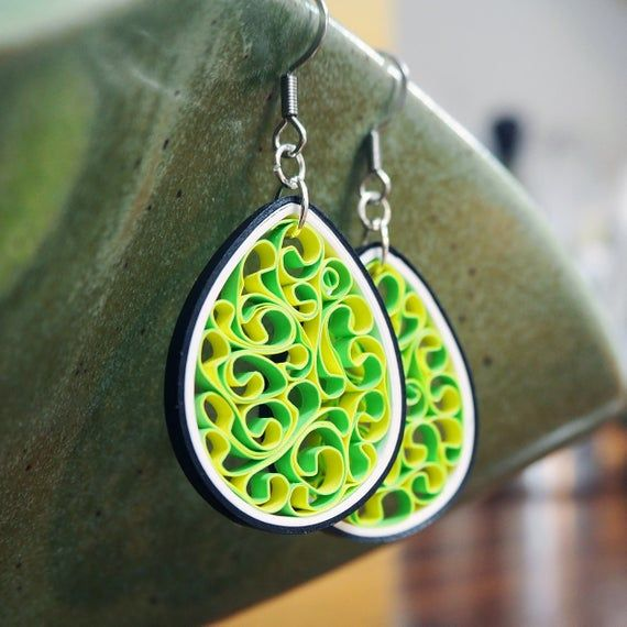 Bright Green Yellow Quilled Paper Honeycomb Dangle
