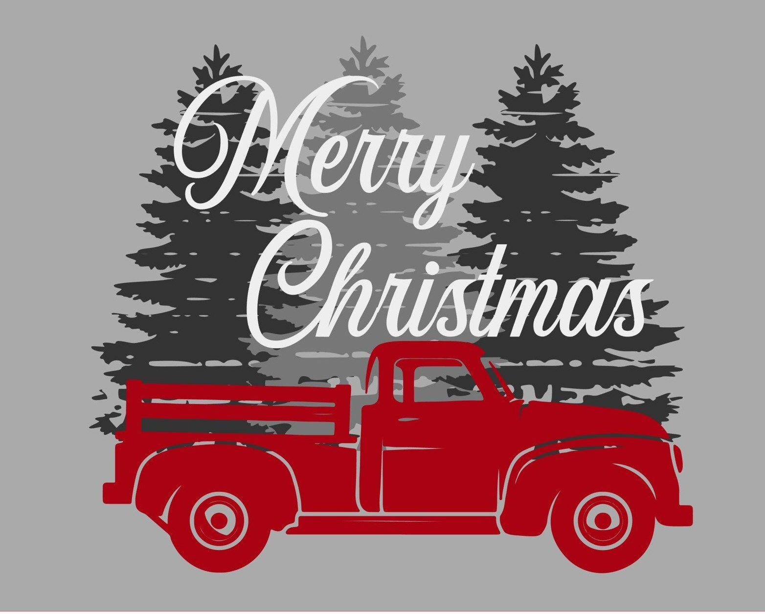 Merry Christmas Red Truck Vintage Trees SVG Christmas