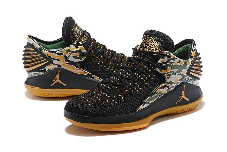 "cheap for discount b0994 81063 New Air Jordan 32 XXXII Low ""Camo"" Black Metallic Gold-White AH3347-021"