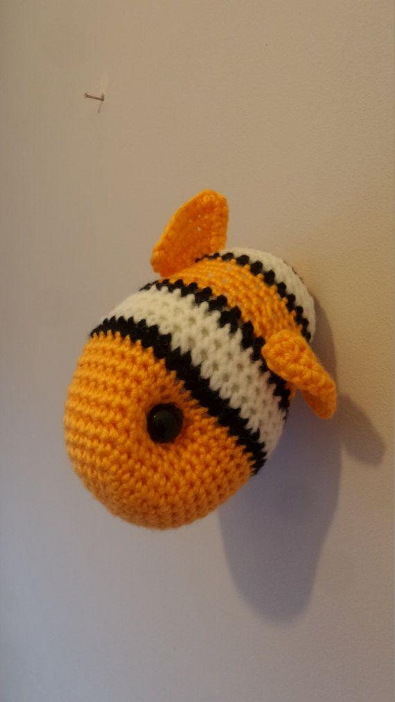 Clown Fish Trophy Head, Animal Wall Hanging, Crochet Faux Taxidermy ...