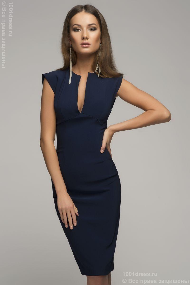 abd92fbf8da0404 Купить синее платье-футляр без рукавов с V-образным вырезом недорого в  интернет-магазине 1001DRESS