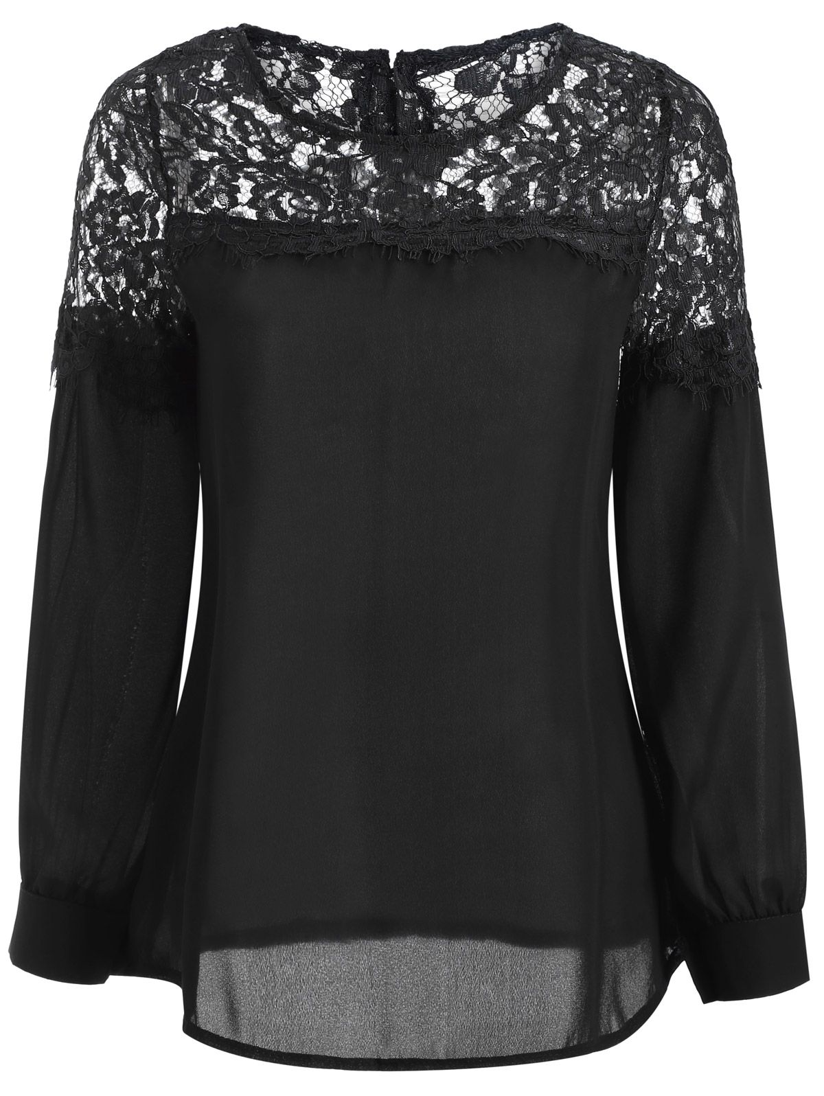 1a6dd5be7d Sheer Lace Yoke Blouse | Shirts and Skirts in 2019 | Sheer lace top ...