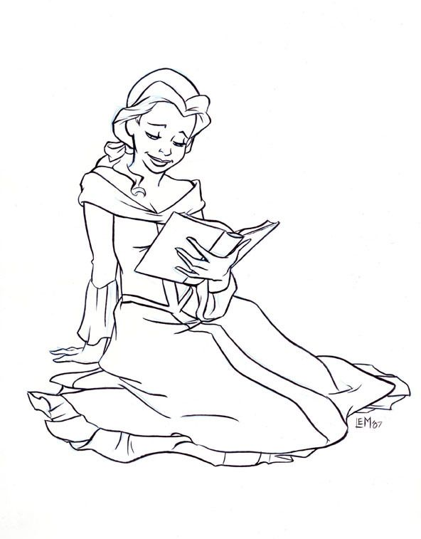 Belle Fan Art Belle Reading A Book In Black And White Disney Princess Art Book Clip Art Coloring Pages
