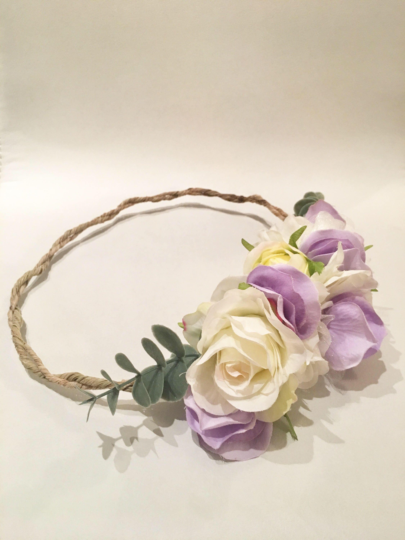 Flower crown purple flower crown wedding flower crown flower flower crown purple flower crown wedding flower crown flower headband vintage flower izmirmasajfo