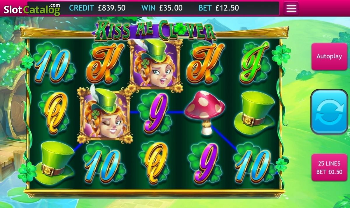 Win 3 Kiss Me Clover Video Slot From Eyecon