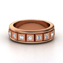 Check Mate Ring, Men's Rose Gold Ring with Diamond