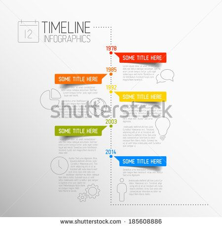Vector Infographic timeline report template with icons Brochure - advertising timeline template