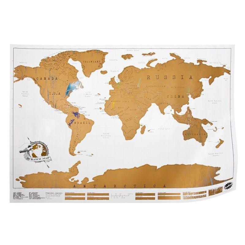 Carte du monde à gratter - Une superbe carte à personnaliser - 24,95 €