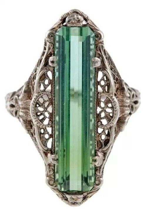 Turkish Handmade Emerald Topaz Vintage Carved Patterned Women Ring Size 6-10  | eBay