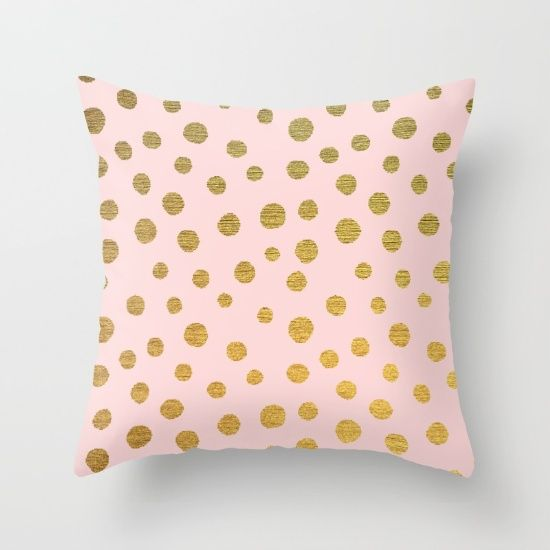 GOLDEN+DOTS+-+PINK+Throw+Pillow+by+Colorstudio+-+$20.00