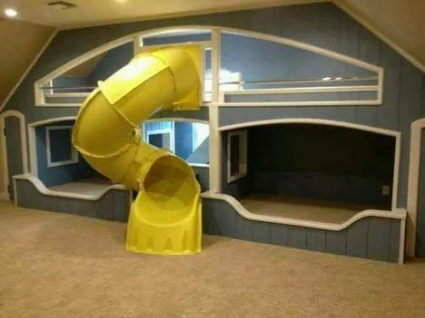 Yellow Tunnel Bunk Beds Built In Bunk Bed With Slide Bed With