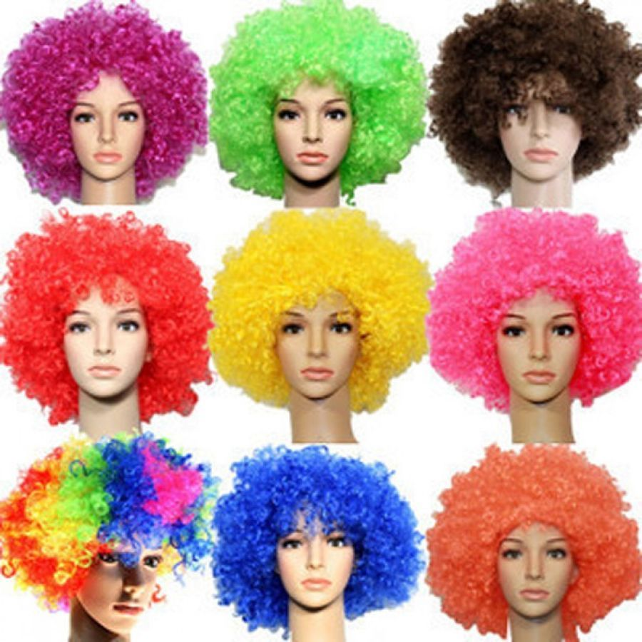 Halloween Adult Afro Disco Synthetic Hair Wig Costume One Size NEW