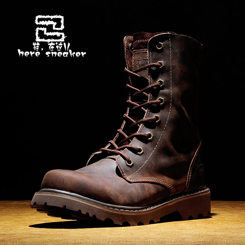 Genuine leather men's boots gaotong boots fashion work boots high ...