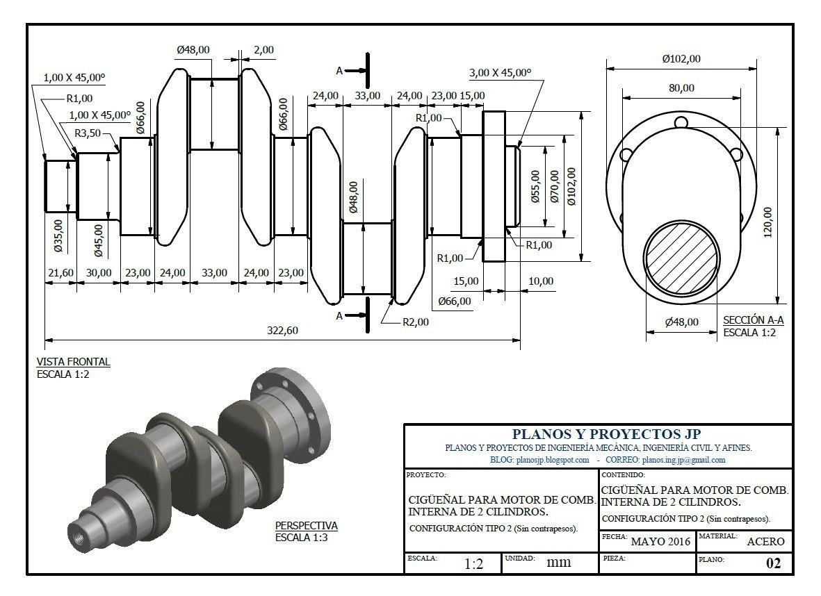 Ciguenal 2 Cilindros Sin Contrapesos Manivelas 180 Grados Diseno Mecanico Planos Mecanicos Dibujos En Autocad