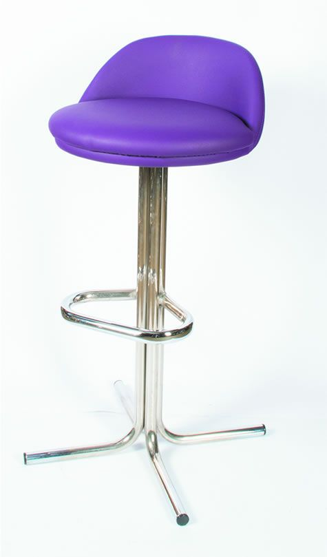 Tasuk Quality Retro Purple Kitchen Breakfast Bar Stool Chrome With Footrest And Backrest Fully Embled