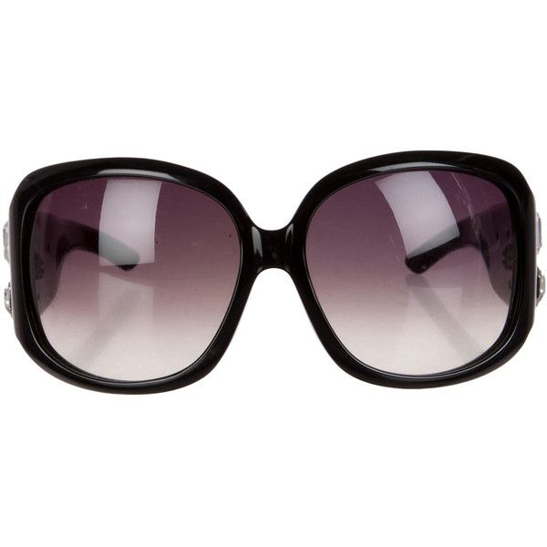Christian Dior Jewel-Embellished Oversize Sunglasses ($95) ❤ liked on Polyvore featuring accessories, eyewear, sunglasses, black, christian dior eyewear, oversized sunglasses, christian dior glasses, embellished sunglasses and oversized eyewear
