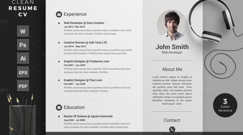 Mba Resume Template Word Indesign And Psd Template  Workish