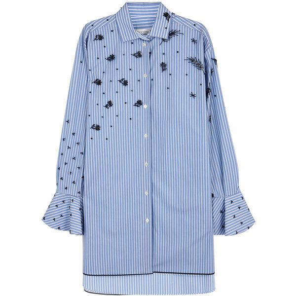Valentino Striped tulle and cotton shirt ($2,780) ❤ liked on Polyvore featuring tops, blouses, beaded shirt, blue top, striped cotton shirt, sequin top and blue striped shirt