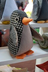 MIAOW's stuffed animals made from men's suiting fabric. J.Hilburn advisors this is what we can do with our retired fabrics..