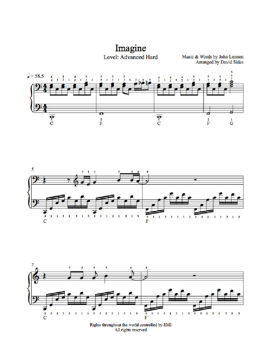 Imagine By John Lennon Piano Sheet Music Advanced Level With