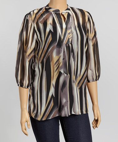 Take a look at this Brown Jungle V-Neck Tunic - Plus by Avital on #zulily today!