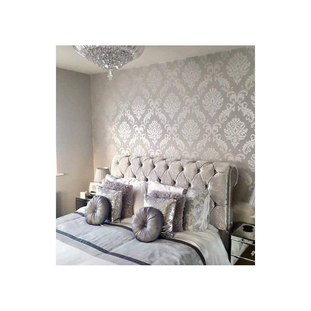 Chelsea Glitter Damask Wallpaper Soft Grey Silver Damask Wallpaper Living Room Damask Wallpaper Bedroom Wallpaper Bedroom