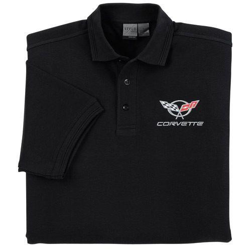 C5 Corvette Black Pique Polo Shirt Shirts Pique Polo Shirt Polo Shirt