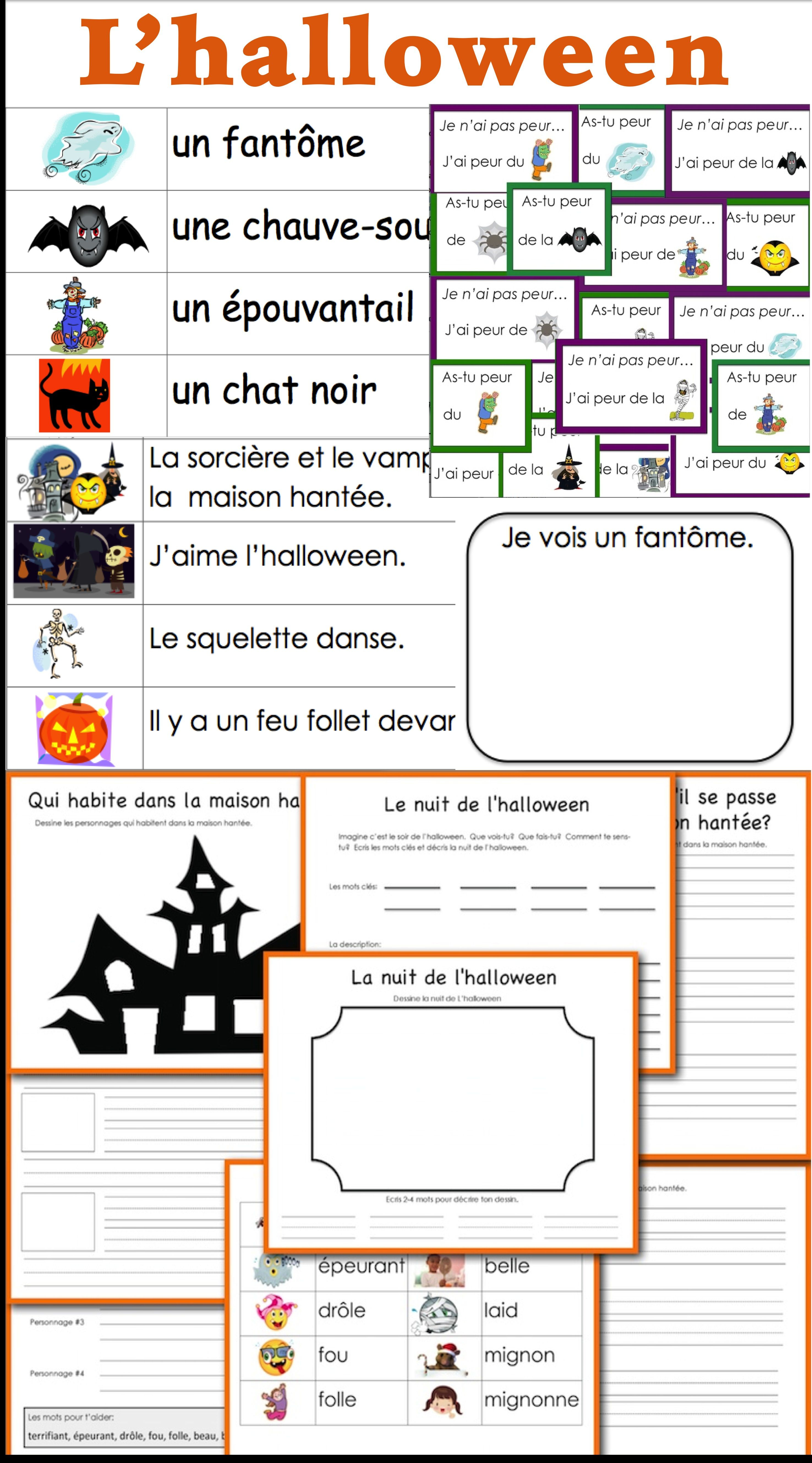 l 39 halloween french halloween vocabulary and writing activities french halloween french. Black Bedroom Furniture Sets. Home Design Ideas