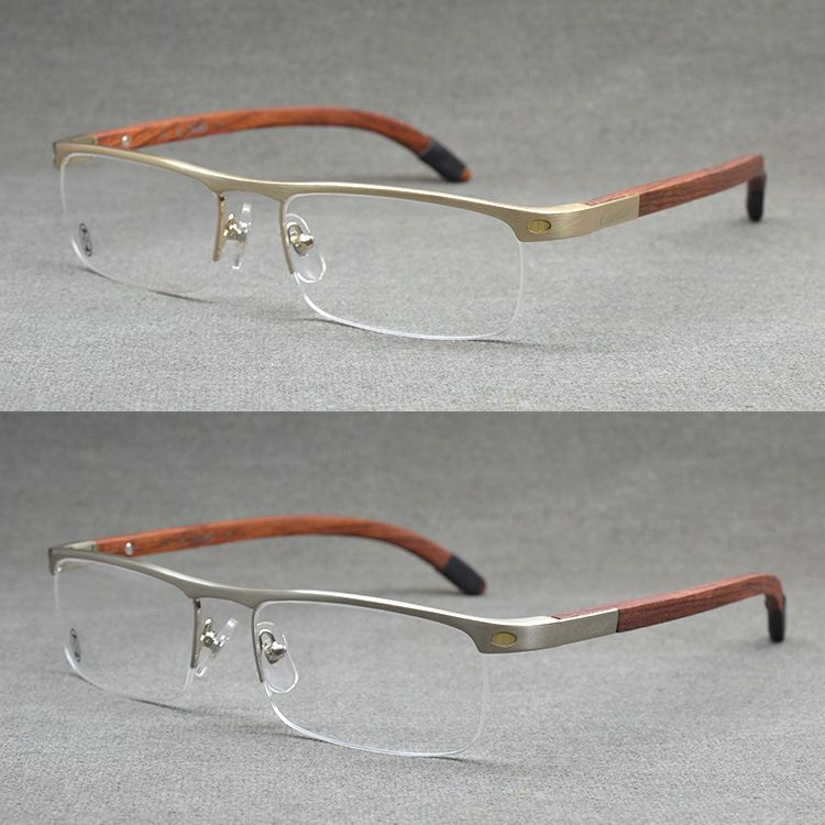 26076675db3b Top Quality Rimless Gold Men Eye Glasses Frame Vintage Wood Eyeglasses  Optical Mens Eyeglass Frames Wooden Prescription Eyewear