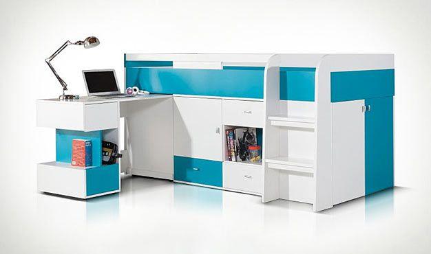 Lit enfant haut bleu et blanc avec bureau coulissant bed rooms