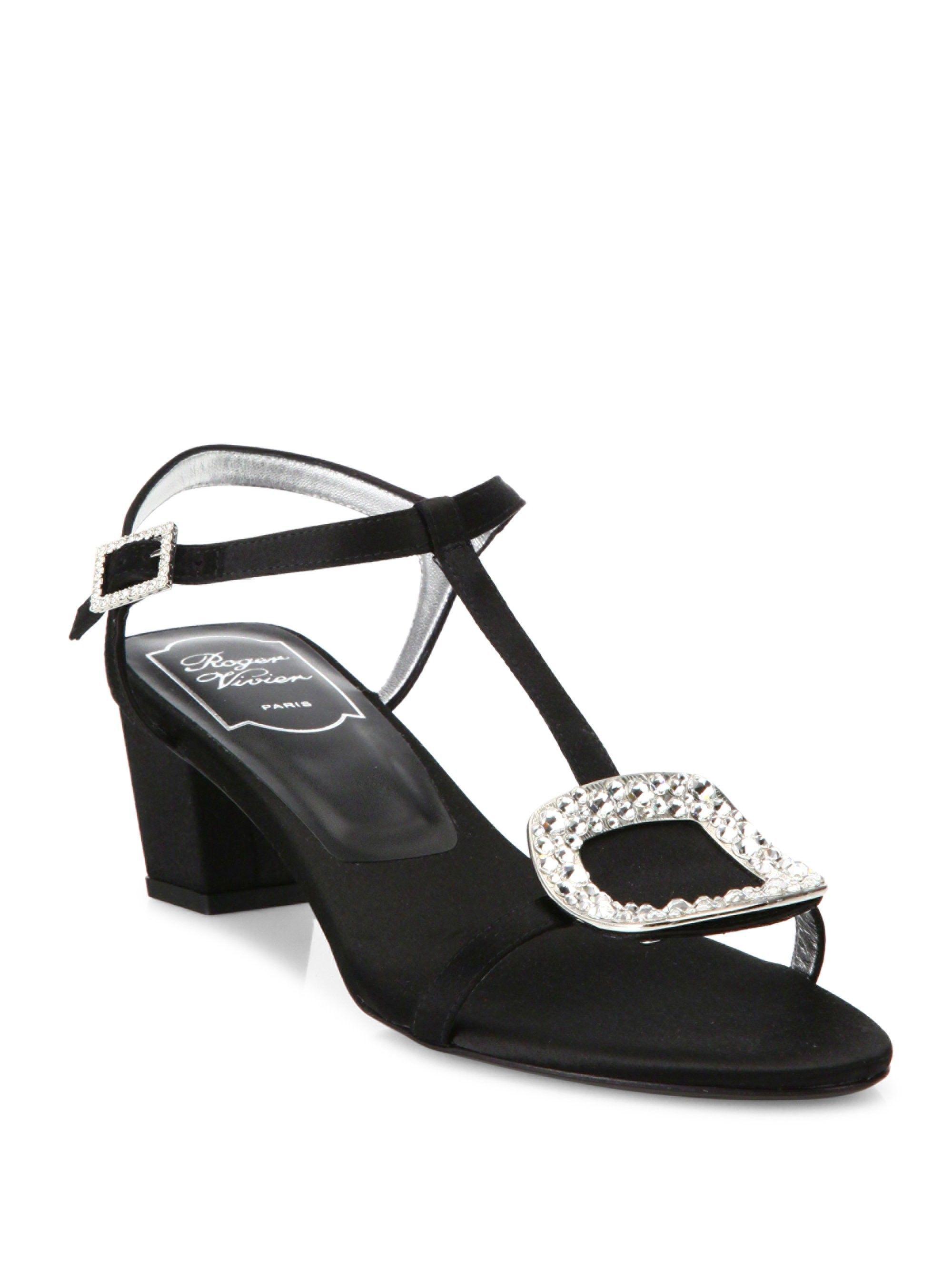 ce4fb73eca Roger Vivier Chips Crystal-Embellished Satin Sandals - Black 38.5 (8.5)