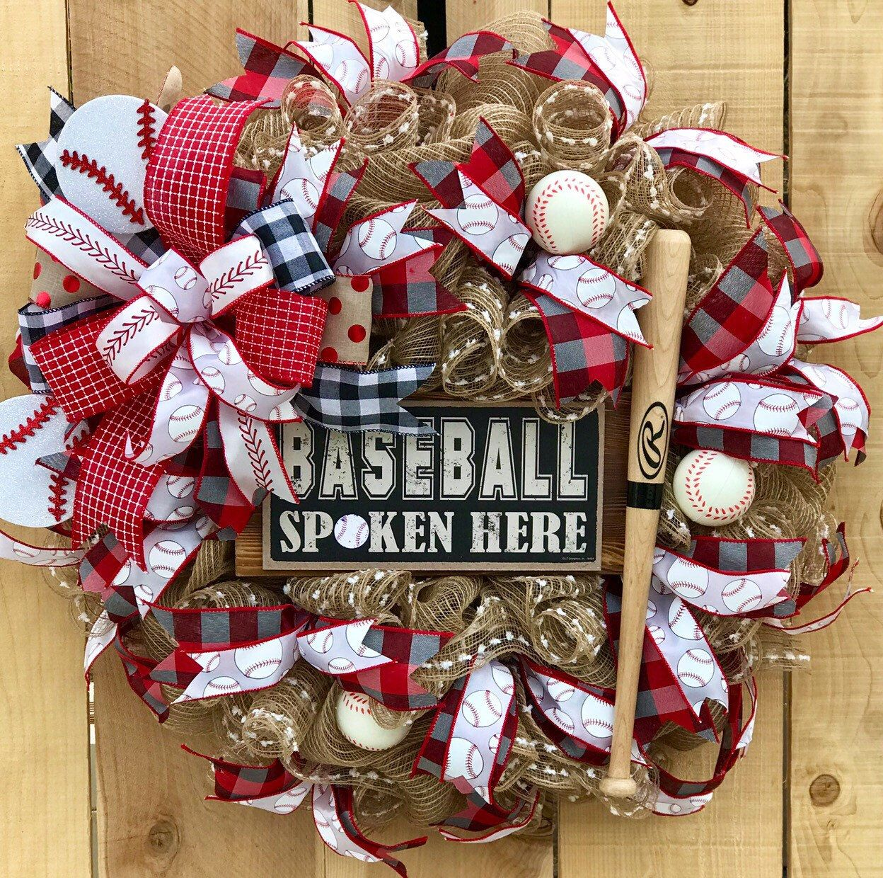 Photo of Baseball wreath, front door wreath, spring wreath, sports wreath, father's day gift, coach gift, baseball lover gift