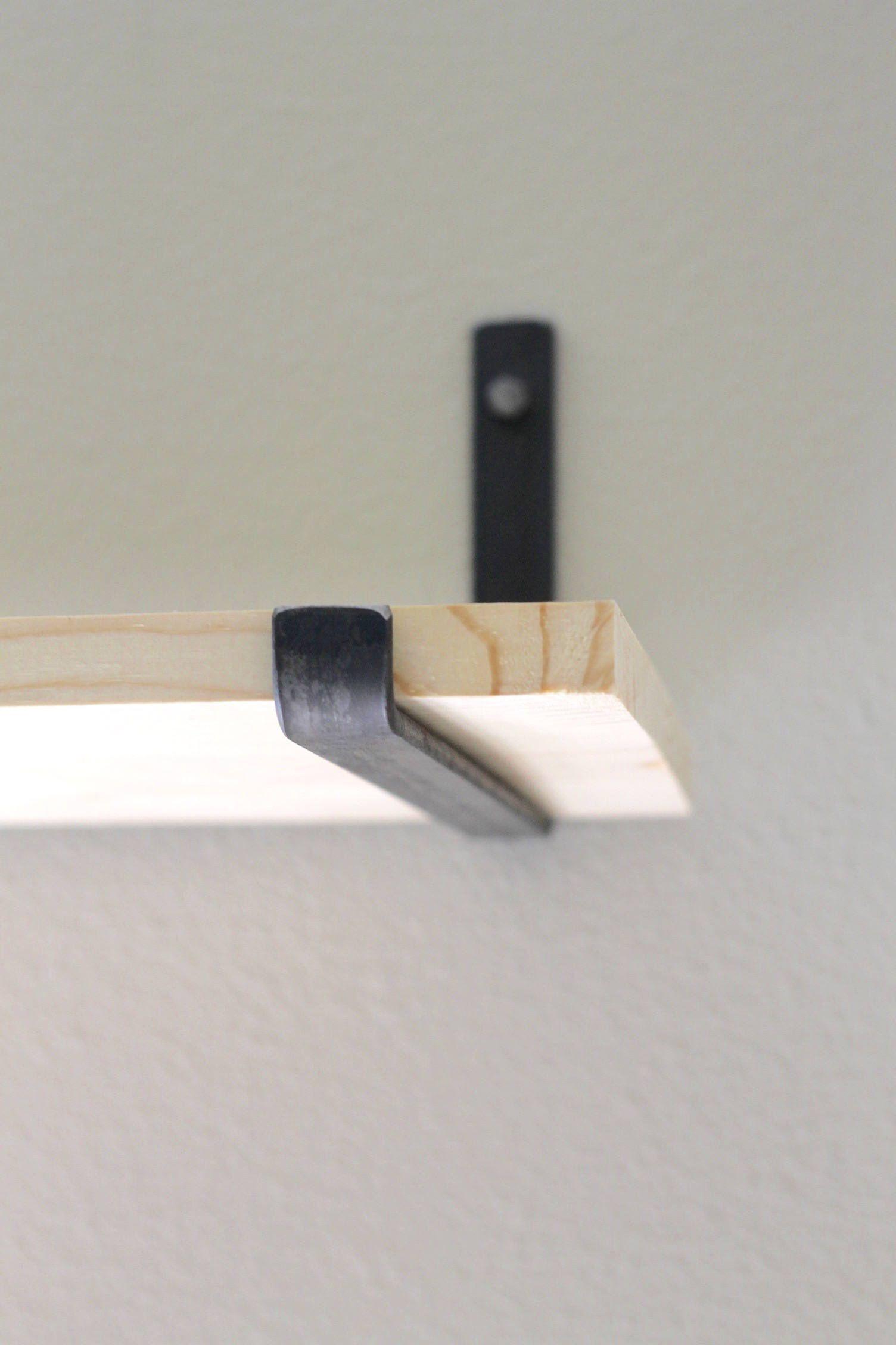 Heavy Duty Wall Mounted DIY Shelving Brackets Hanging Custom Pipe Brackets for Floating Shelves,Coated Finish.Hardware Included Industrial Black Iron Pipe Floating Shelf Bracket 8 Inch Set of 6