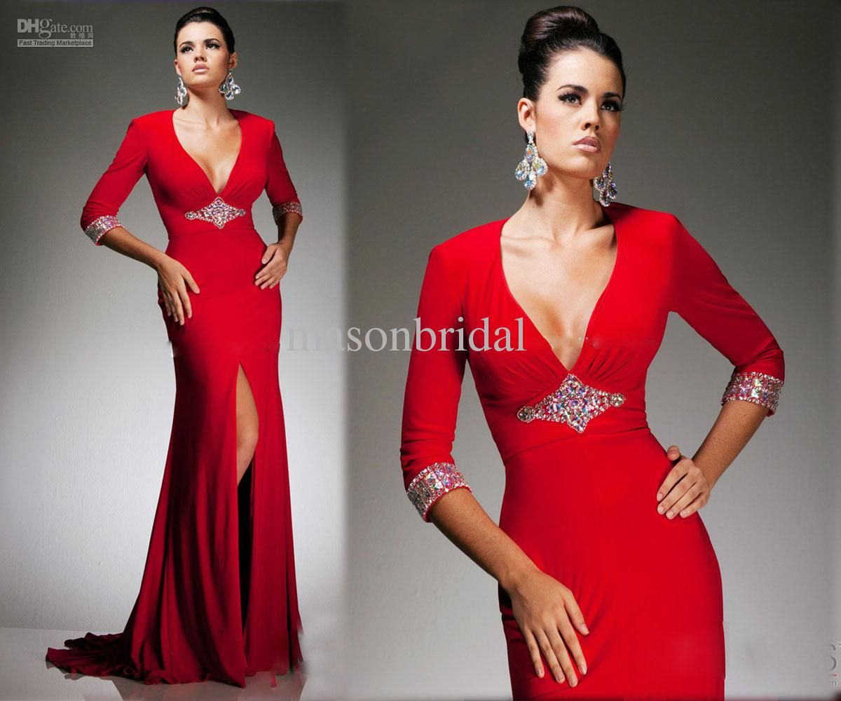Wholesale red v neck mermaid prom dress front split half sleeve