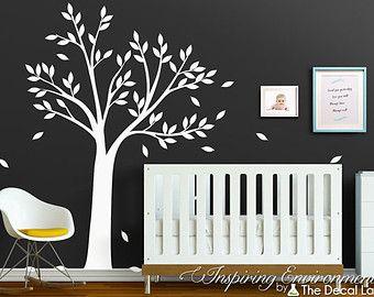 Weiße Baum Mit Blättern Wand Aufkleber, Baby Kinderzimmer Dekor Ideen,  Kinder Zimmer Innen