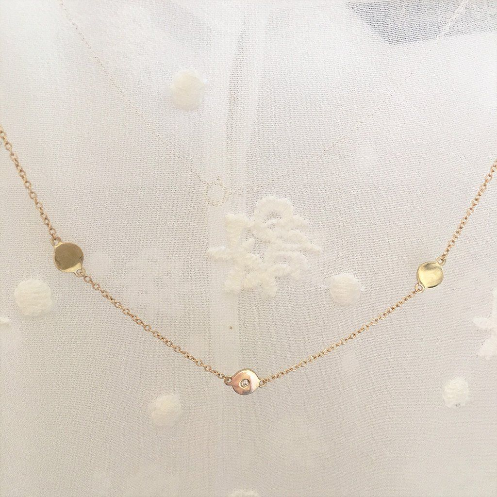The Right Hand Gal Solid Gold Three Disc Necklace