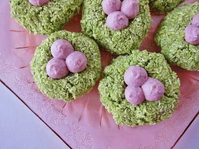 Raw Easter Macaroon Nests   (coconut lime macaroons with strawberry cream)