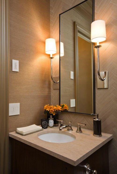 Sutton Suzuki Architects Chic Small Powder Room Design With Tan Grasscloth  Wallpaper, Tan Tiles Backsplash
