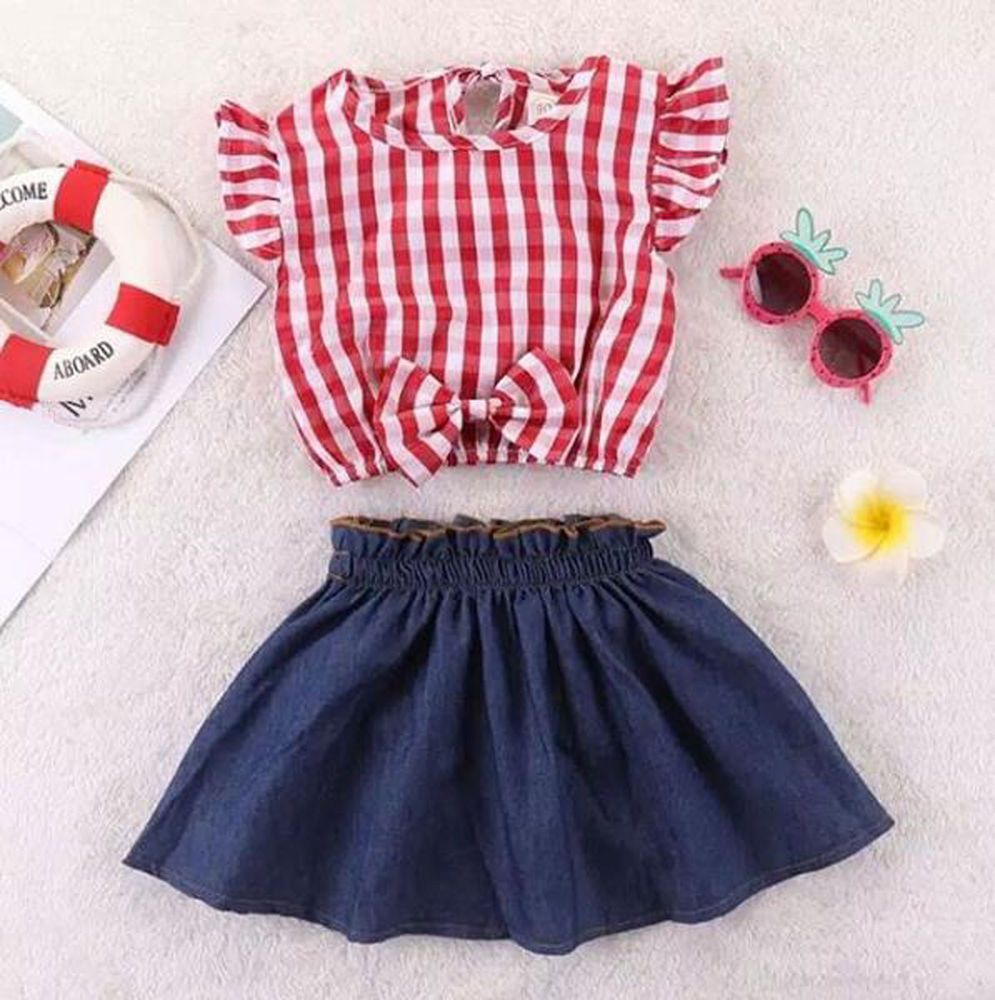 251841b755c3 Boutique Toddler Baby Girl Sleeveless Plaid Lace Tops Denim Skirt Dress  Outfits  fashion  clothing  shoes  accessories  babytoddlerclothing ...