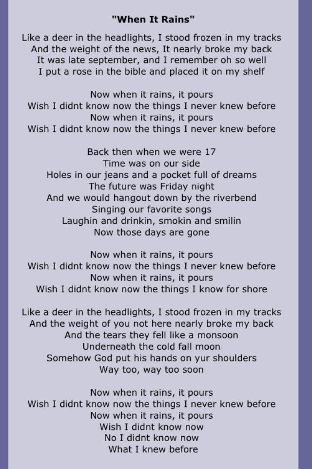 "Kid Rock ~ ""When It Rains""   Kid rock lyrics, Kid rock ..."