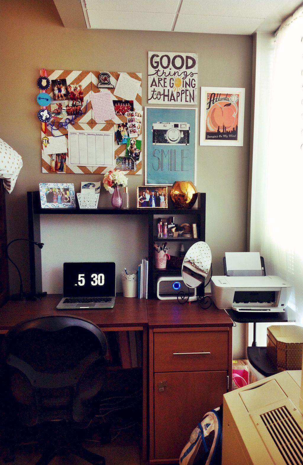 Cool 65 Clever Dorm Room Organization Decoration Ideas Https Homearchite Com 2017 08 15 65 Clever Dorm Room Orga Dorm Room Desk College Dorm Desk Dorm Desk