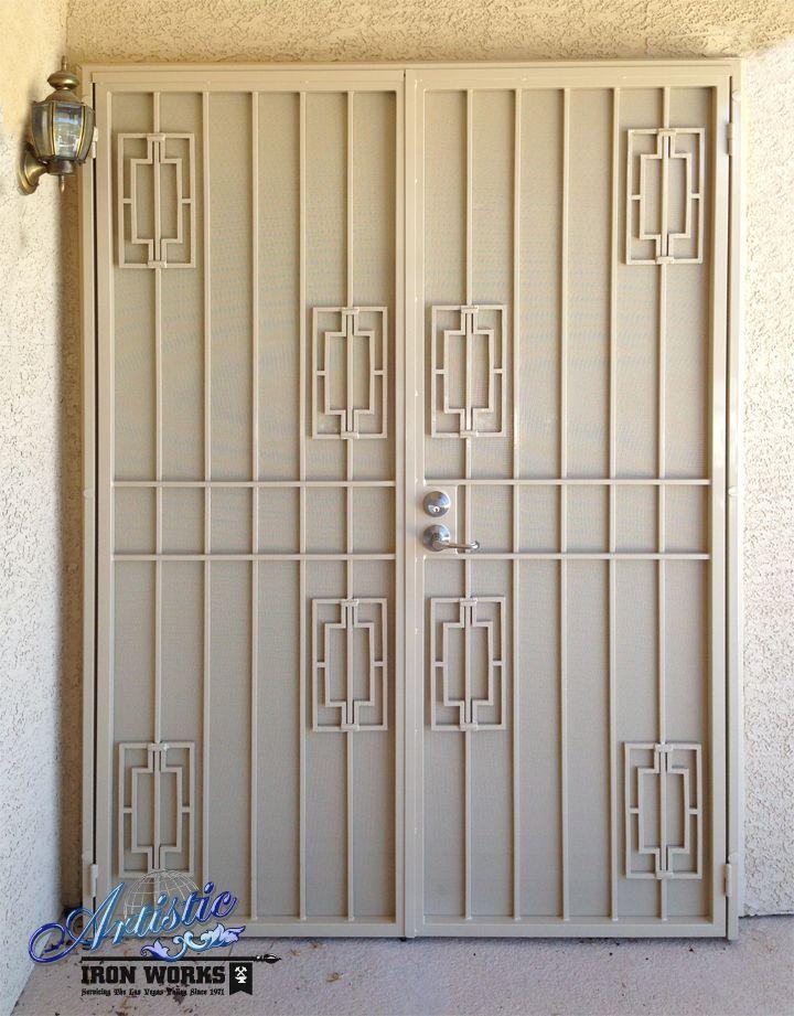 Econoline wrought iron security screen double doors model fd0041 porte de s curit en fer for Model porte en fer forge