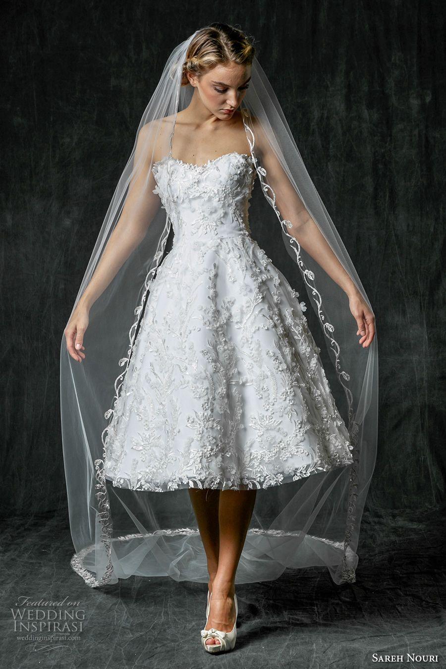Sareh Nouri Fall 2017 Wedding Dresses Wedding Inspirasi Wedding Dresses Tea Length Wedding Dress Short Wedding Dress [ 1350 x 900 Pixel ]