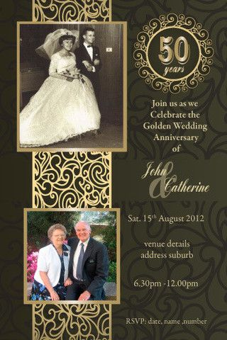 Th Wedding Anniversary Invitations  Golden Marriage  Th