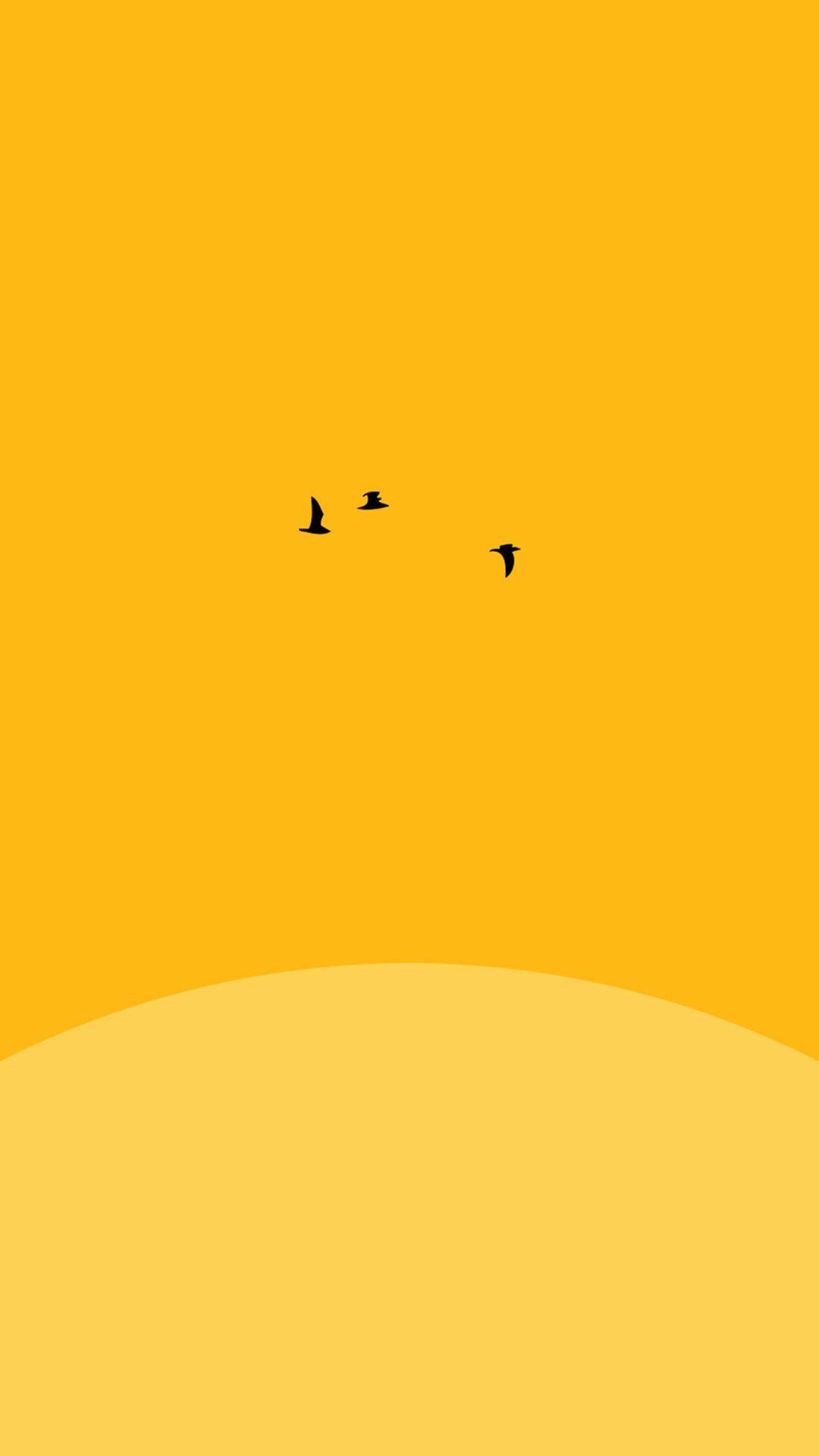 sunsetyellowbirdminimaliphone6pluswallpaper in 2019