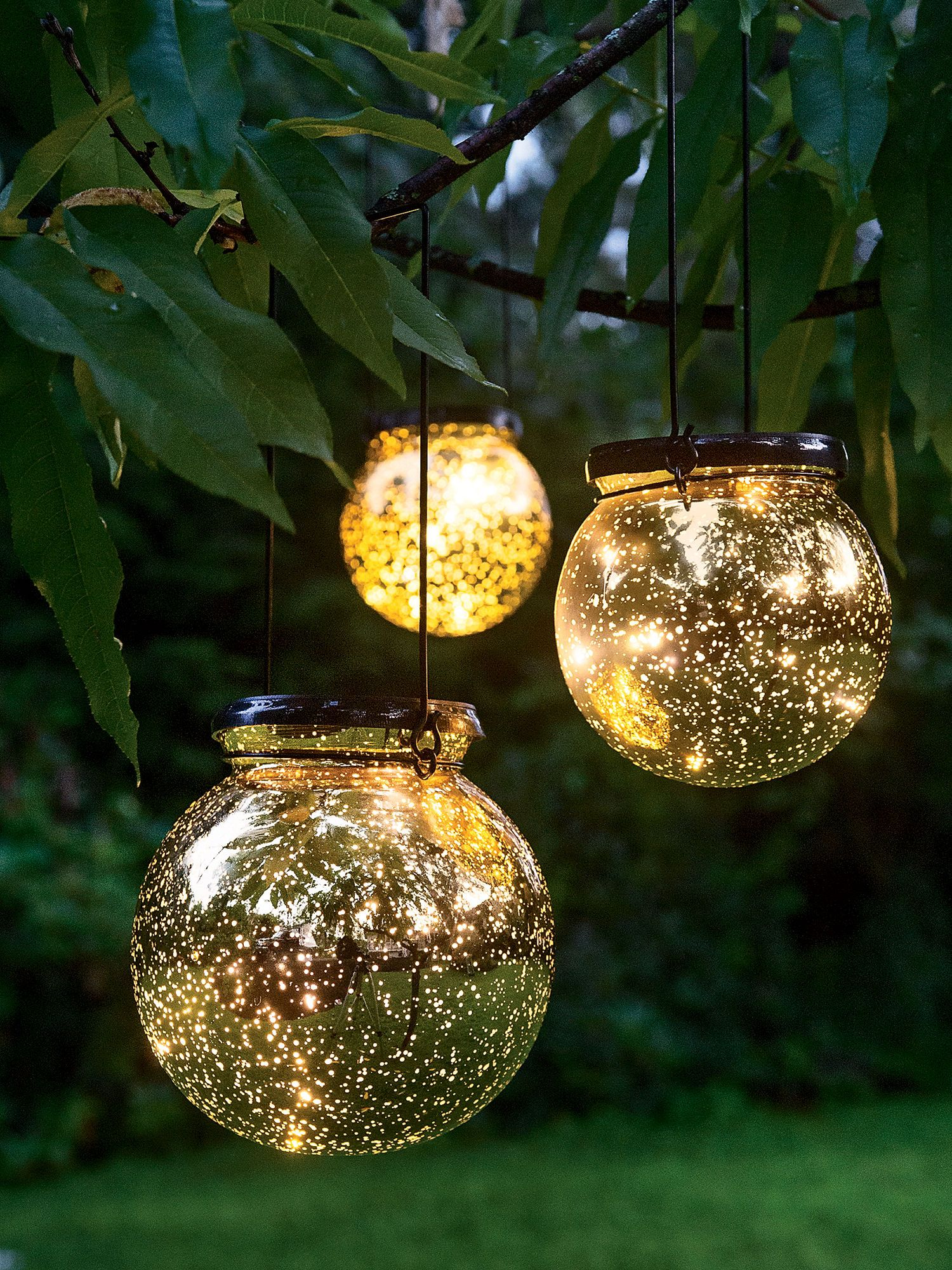 LED Fairy Dust Ball: Outdoor Battery Operated Globe Lights   Mercury Glass  Globes By Day Theyu0027re Shiny Golden Orbs. At Night, Pinpoints Of Light  Emerge Like ...